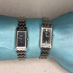 Lot of 2 Seiko Ladies Black Face Watches Stainless